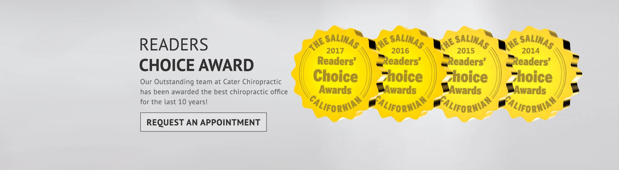 Cater Chiropractic Readers Choice Award